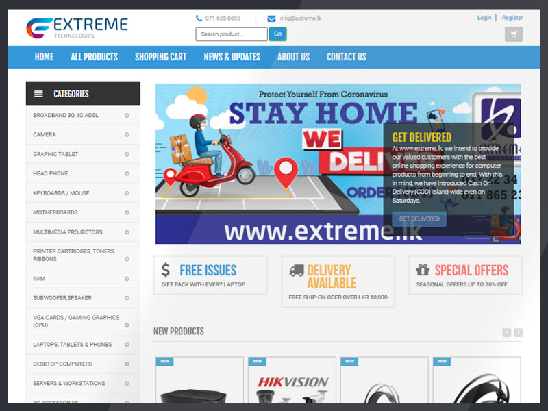 Extreme is the biggest computer store in Kurunegala city. They selected Exesmart to fulfil their modern e-commerce web development with Admin Panel and Search Engine Optimization
